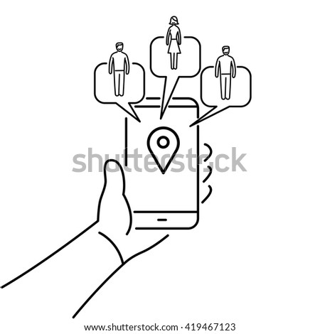 Conceptual vector solomo or social local mobile icon of smartphone in hand communicating with local social people groups. flat design marketing and business illustration infographic black on white - stock vector