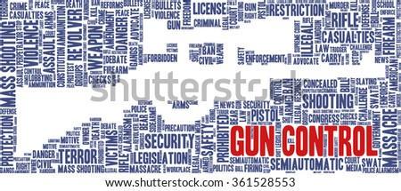 Conceptual word cloud with terms related to gun control, mass shootings and gun control policies, in shape of a rifle, inverted - stock vector