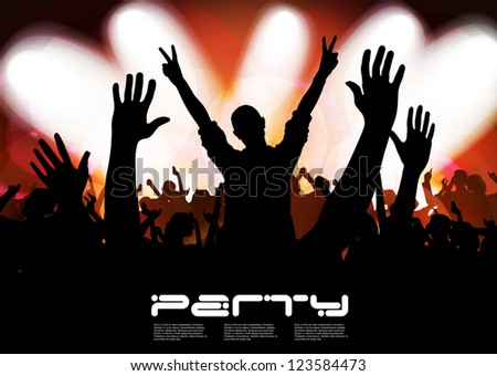 Concert crowd in front of bright stage - stock vector