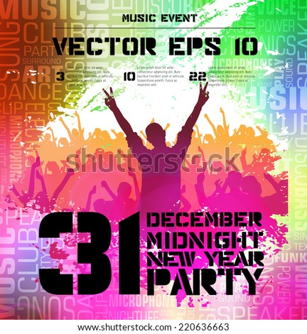 Concert crowd in front of stage. Party poster, vector illustration  - stock vector