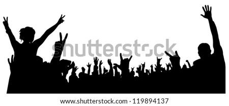 Concert Crowd Silhouette on white background - stock vector