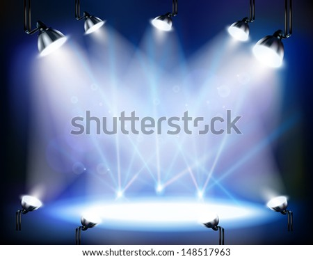 concert hall with spotlights - stock vector