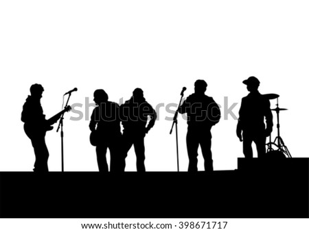 Concert of rock band on a white background - stock vector