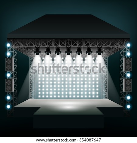 Concert stage with spotlights. Show and scene, entertainment disco party. Vector illustration - stock vector