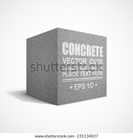 Concrete cube. - stock vector