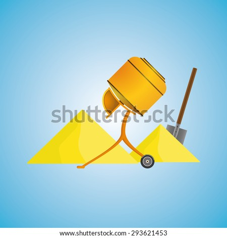 concrete mixer sand shovel. Concrete mixer icon eps10, concrete mixer icon vector, concrete mixer icon jpg, concrete mixer icon flat, concrete mixer icon app, concrete mixer icon web. - stock vector