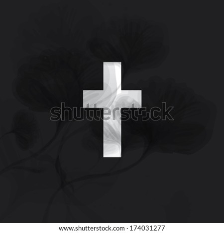 Condolence / Elegant monochrome card with floral Cross - stock vector