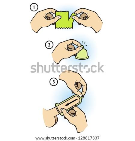 Condom manual - stock vector