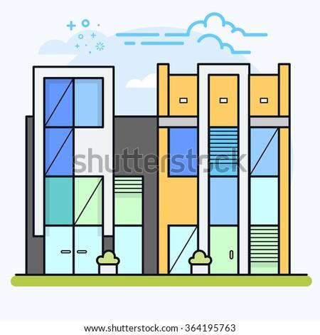 Condominium apartment or office buildings. Modern flat vector illustration eps 10. - stock vector