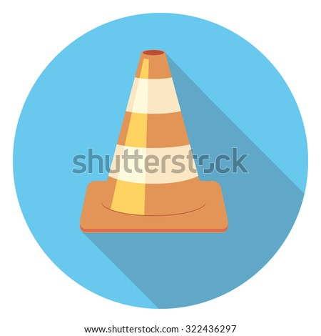 cone flat icon in circle - stock vector