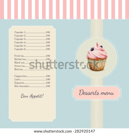 Confectionery menu template with watercolor cupcake illustration in retro style - stock vector