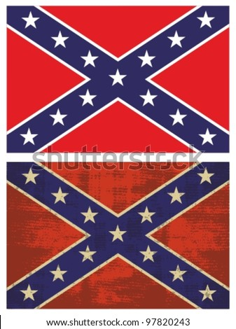 Confederate Flag. Grunge Rebel flag. - stock vector