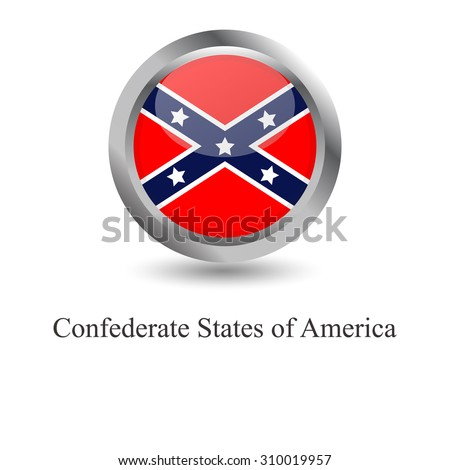 Confederate flag on round sign - stock vector