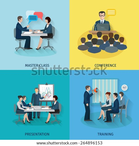 Conference design concept set with master class presentation training flat icons isolated vector illustration - stock vector