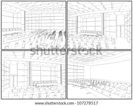 Conference Hall Interior Vector 02 - stock vector