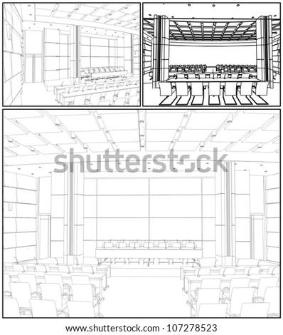 Conference Hall Interior Vector 03 - stock vector