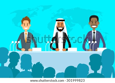 Conference International Mix Race Ethnic Leaders President, People Group Meeting Flat Vector Illustration - stock vector