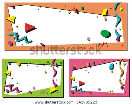 Confetti border for birthday or other party announcement - stock vector