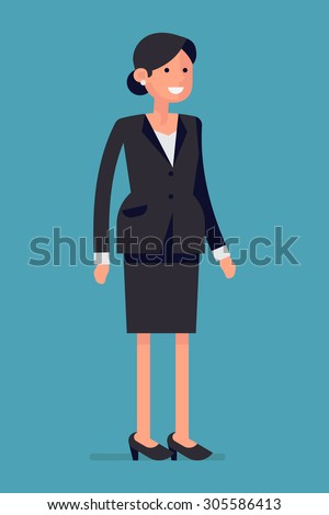 Confident and friendly business woman standing full length isolated and smiling | Female office worker character smiling - stock vector