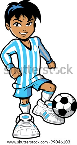Confident smiling young man boy FIFA soccer football player with soccer ball and big sneakers - stock vector