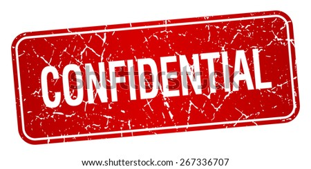 confidential red square grunge textured isolated stamp - stock vector