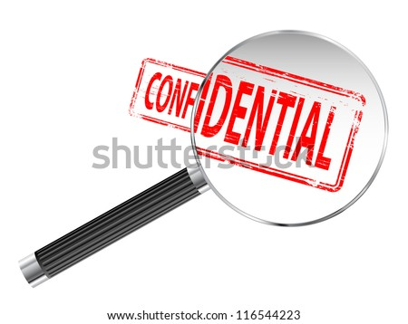 Confidential rubber stamp under a magnifying glass - stock vector