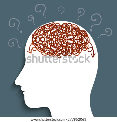 Confuse of the brain - stock vector