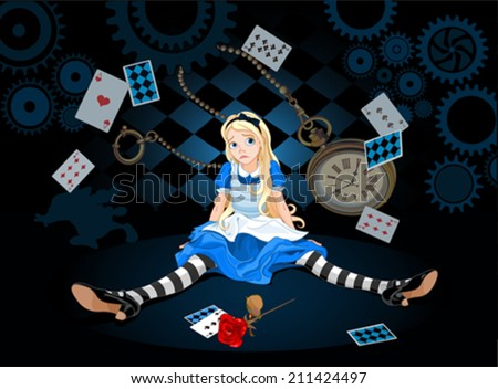 Confused Alice after she has grown in size and do not know what to do on flying elements background - stock vector
