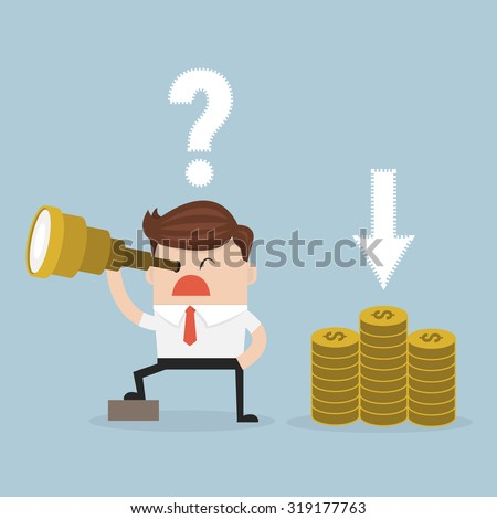 Confused businessman look for money in wrong direction. vector. flat design - stock vector
