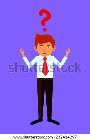 Confused businessman with questions - stock vector