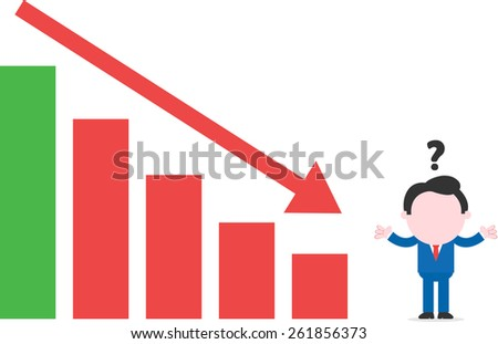Confused cartoon faceless confused businessman shrugging beside bar chart arrow moving down - stock vector