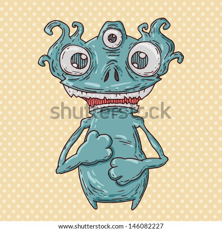 confused monster - stock vector