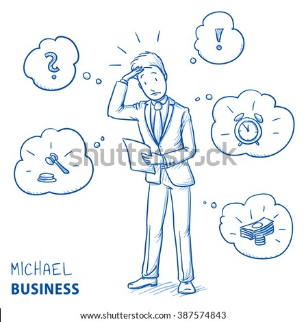Confused young man in business suit holding a letter or document, looking concerned. Hand drawn line art cartoon vector illustration. - stock vector