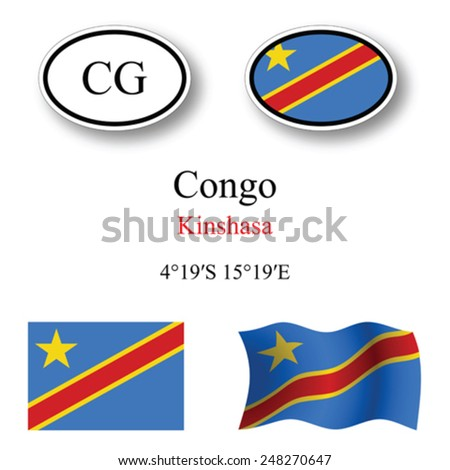 Congo icons set against white background, abstract vector art illustration, image contains transparency - stock vector