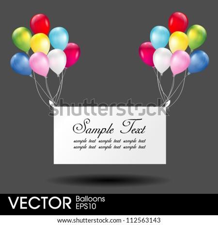 Congratulation balloons poster - stock vector