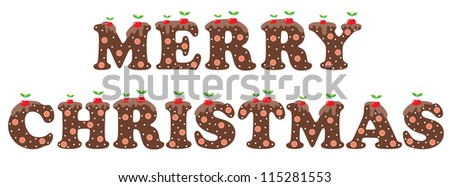 Congratulation on Christmas. Sweet letters. vector - stock vector