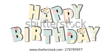 congratulations birthday card. girly cute design. sabby chic - stock vector