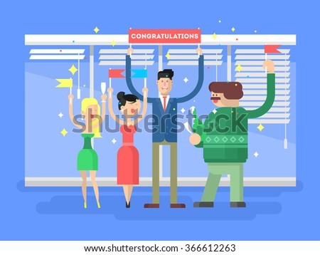 Congratulations group people - stock vector