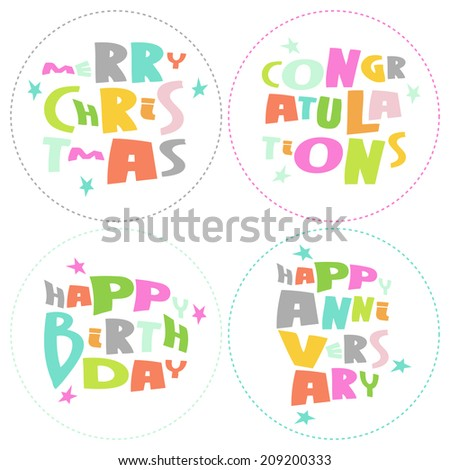 Congratulations, merry Christmas, Happy birthday and anniversary colorful lettering on white background. Vector - stock vector
