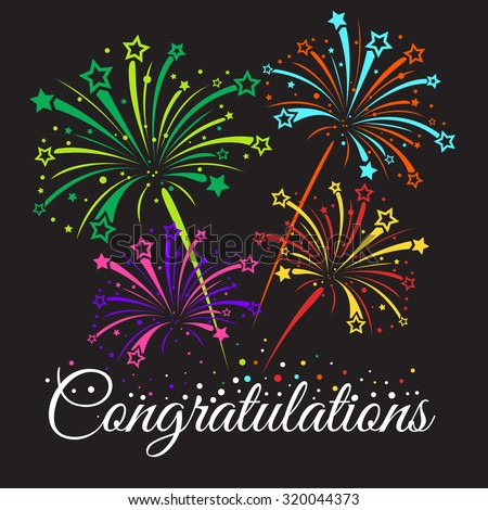 Congratulations text and star fireworks abstract vector  - stock vector