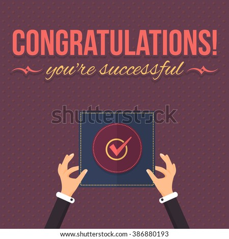 Congratulations Theme Background, Hands Hold Card, Flat Vector Design - stock vector