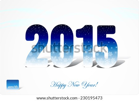Congratulations to 2015, vertical figures with shadows, stars, snowflakes. Eps 10. vector - stock vector