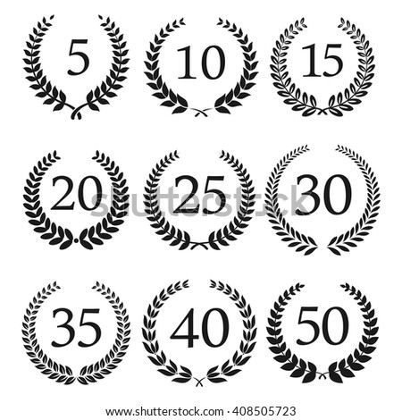 Congratulatory laurel wreaths symbols for anniversary or jubilee greeting card, invitation design usage with numbers from 5 to 50 in the center - stock vector