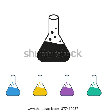 Conical Flask Icon Isolated colored on White Background - stock vector