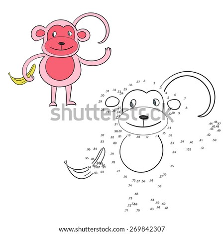 Connect the dots game monkey vector illustration - stock vector