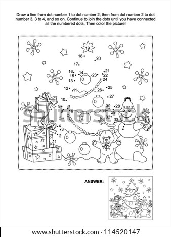 Connect the dots picture puzzle and coloring page, Christmas or New Year winter holiday themed, with gift boxes, christmas tree, snowman, teddy bear, snowflakes - stock vector