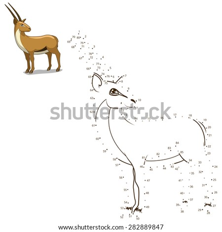 Connect the dots to draw the animal educational game for children gazelle vector illustration - stock vector