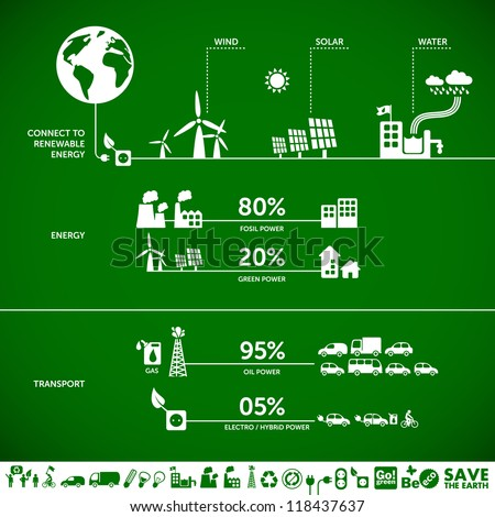 Connect to renewable energy - ecology background / eco energy concept with set of energy icons - stock vector