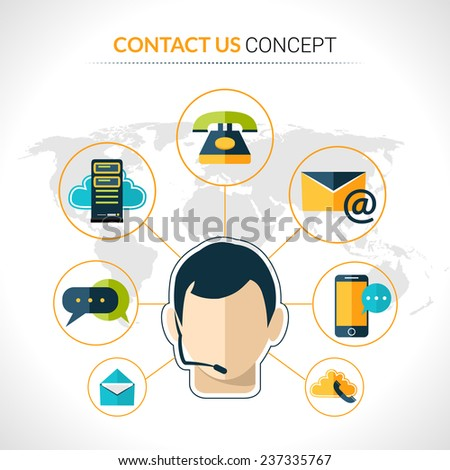 Connect us business people social network innovative  electronic technology communication concept poster with operator abstract vector illustration - stock vector