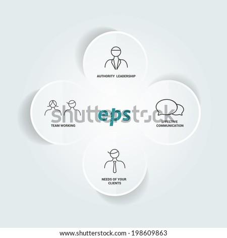Connected circle speech diagram. Vector template. - stock vector
